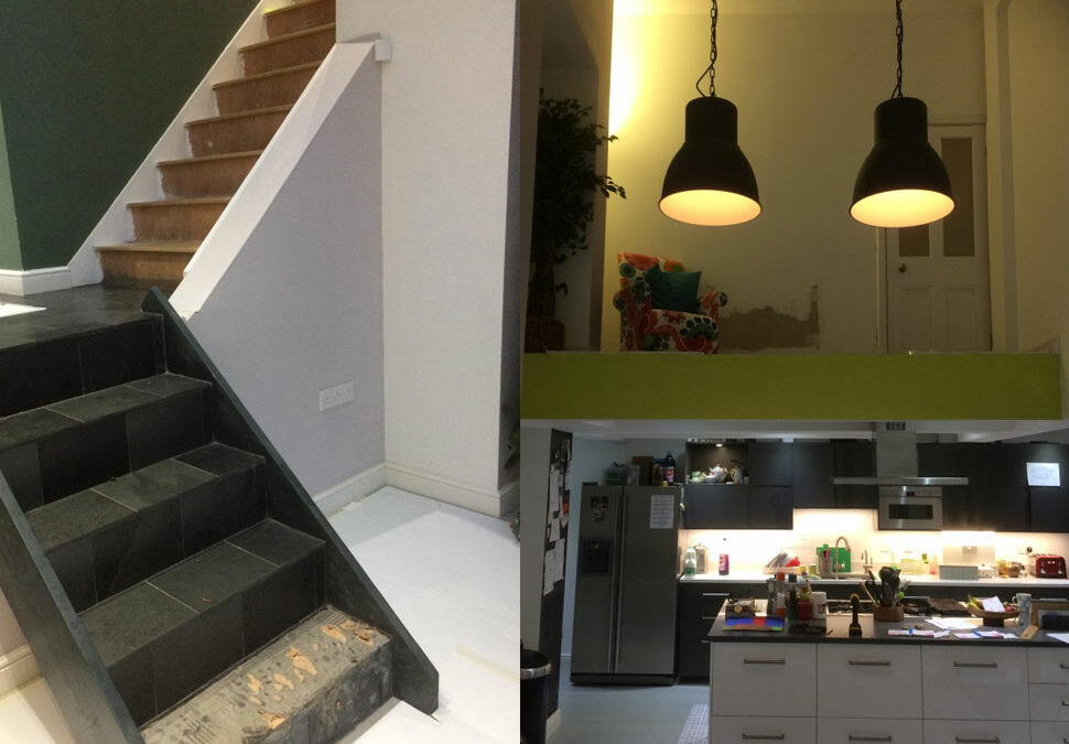 Contemporary in-line glass staircases