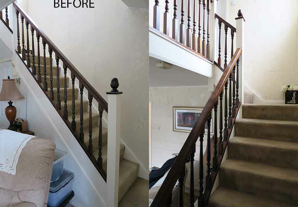 Dated spindle staircase makeover in Manchester