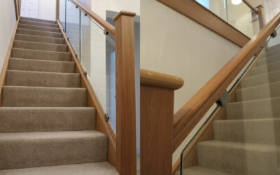 Old spindles removed – Glass installed