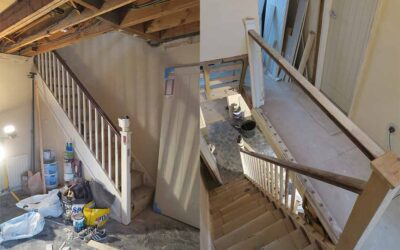 Cheshire staircase renovation in high gloss grey