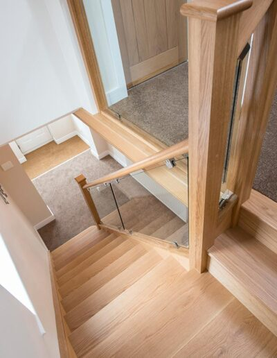 Solid Oak Treads with Bracket Mounted Glass Panels