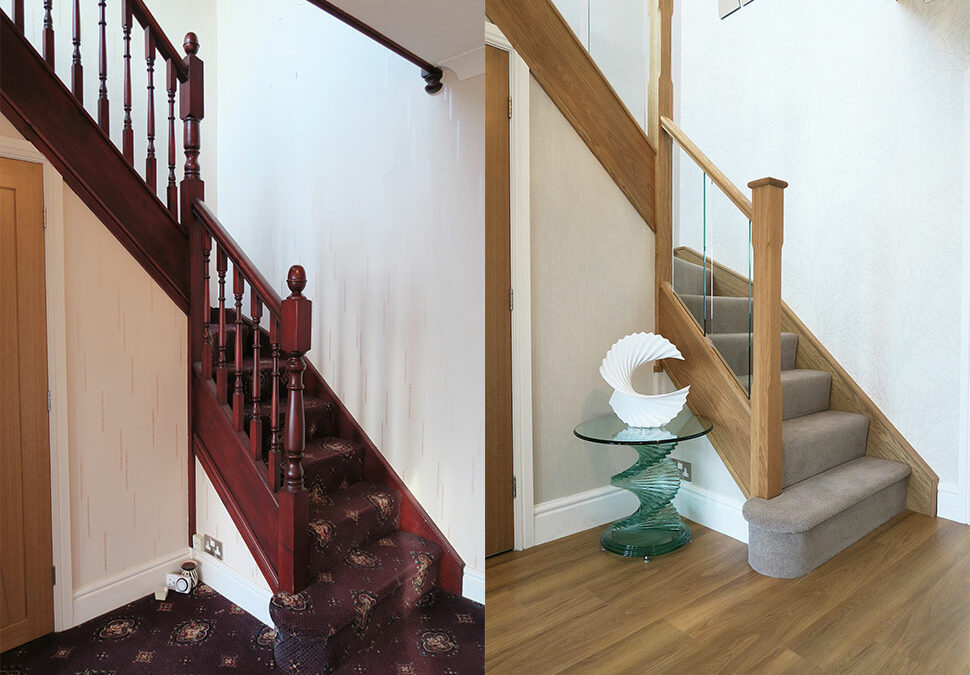 Modern Oak and in-line glass staircase in Bolton