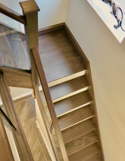 Oak Stair Treads and Newel Posts in Walnut Stain