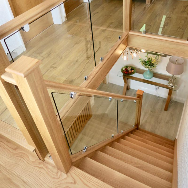 oak glass staircase renovation