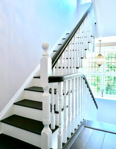 Period Staircase Renovation with Stained Oak Handrails and Treads